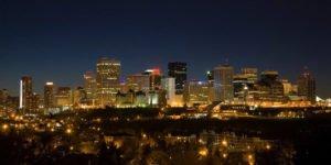 City of Edmonton AB Canada at nigh