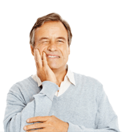 Man expressing oral pain and discomfort